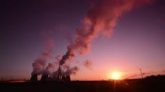 Sunrise at ferrybridge coal powered power station united kingdom Stock Footage