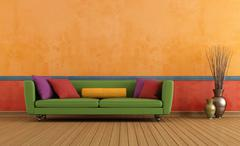 Green red and orange living room Stock Illustration