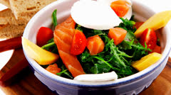 Salad with smoked salmon and bread Stock Footage