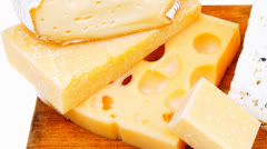 French cheese parmesan brie and edam Stock Footage