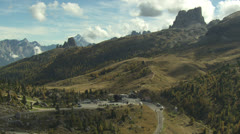 aerial landscape shot, Dolomites / Italy - stock footage