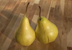 Organic pears closeup - stock photo