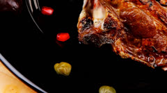 Grilled ribs Stock Footage