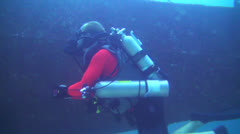 Poseidon Rebreather at a wreck Stock Footage
