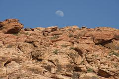 moonrise over red rock canyon - stock photo