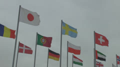 Flags of different countries in the wind against the sky with clouds Stock Footage