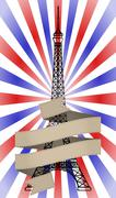tour eiffel ribbon - stock illustration
