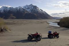 Alaska glacial wash and atvs Stock Photos