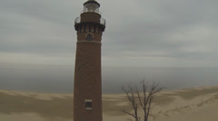 Michigan Lighthouse:  Aerial Shot  (Part 5 ) Stock Footage
