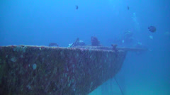 Rebreather Divers on a Shipwreck. Stock Footage