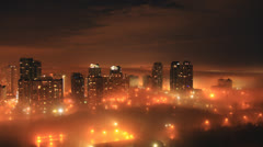 Foggy City Night Time-Lapse 2 (2K) Stock Footage