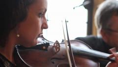 String Quartet - Violinists Slow Panning Shot, Classical Music HD Stock Footage