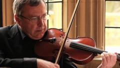 Old Man Playing Violin - Close Up, Classical Music Concert HD - stock footage