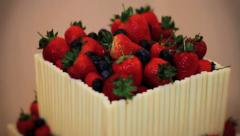 Beautiful Wedding Cake - Fruit & Chocolate, Strawberries & Raspberries - Tilt HD Stock Footage
