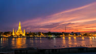 Stock Video Footage of 4K - WAT ARUN TEMPLE AT SUNSET - Bangkok Timelapse