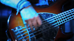 Electric Bass Playing - Close Up Fingering, 5 String - Rock Concert HD Stock Footage