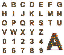 Fire lava alphabet - stock illustration