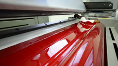 Magenda, red on the offset  print press machine wide angle Stock Footage