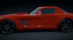 Mercedes sls 2011 3d animation Stock Footage