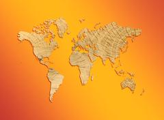 Maailman karttaa tekstuuri puu oranssilla pohjalla Kuvituskuvat