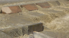 River in Flash Flood, Flooding by Rain, Storm, Dam, Barrage Flooded, Calamity - stock footage