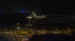 Aerial view of Museum of Islamic Art and traffic car by night, Doha, Qatar Stock Footage
