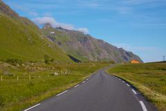 Road on lofoten islands Stock Photos
