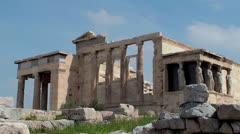 Erechtheion temple at the Athenian Acropolis. - stock footage