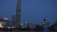 Stock Video Footage of Kingkey 100 and Business District in twilight, Shenzhen, China
