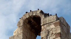 Pigeons at the Ruined Arch of the Odeon of Herodes Atticus theater. - stock footage