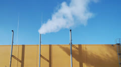 Small steam pipes at an industrial facility Stock Footage