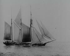 World War 1 - Sinking Sailing Ship Stock Footage