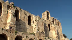 Front wall of the Odeon of Herodes Atticus theater at the Acropolis Stock Footage