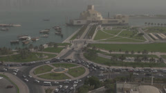 Aerial view of Museum of Islamic Art and traffic car in Doha, Qatar Stock Footage