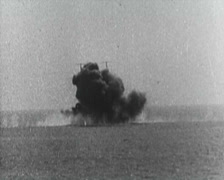 World War 1 - Sea Battle and destroyed ships Stock Footage