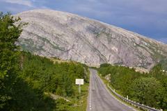 norwegian atlantic tourist road - stock photo