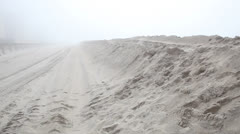 Pan of Dunes Being Constructed in Long Beach Long Island Stock Video Stock Footage