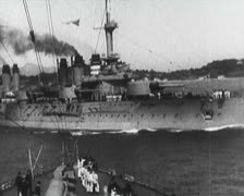 World War 1 - Warships at port and sea - stock footage