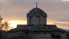 Byzantine Church of the Holy Apostles at sunset. Acropolis, Athens, Greece Stock Footage