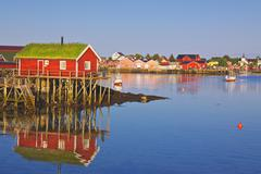 Norwegian fishing village Stock Photos