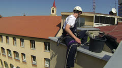 Urban Climber - External Facade Cleaning Stock Footage