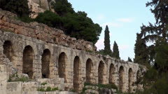 Stoa of Eumenes at the Athenian Acropolis. Stock Footage