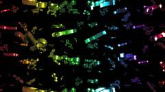 Looping Rainbow Zodiac Capricorn Symbols Falling Stock Footage