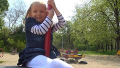 Child Playing on a Playground Equipment, Girl Having Fun in Park, Children Stock Footage