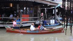 Tourist boat in Pattaya floating market. Stock Footage