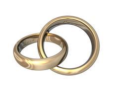 Wedding bands gold 3d Stock Illustration