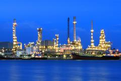 oil refinery manufacturing - stock photo