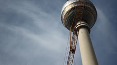 Berlin TV Tower and Moving Constuction Cranes (part 1) Stock Footage