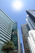 Sun shine above building. Stock Photos