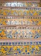 closeup colorful floor tiles in historical building, ali qapu in isfahan, ira - stock photo